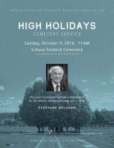 Cemetery Memorial Service: Dr. Elie Wiesel @ Schara Tzedeck Cemetery | New Westminster | British Columbia | Canada