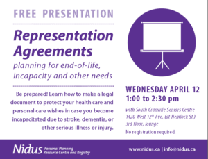 NIDUS: Representation Agreements @ Nidus at Holy Trinity Anglican Church, 2nd floor | Vancouver | British Columbia | Canada