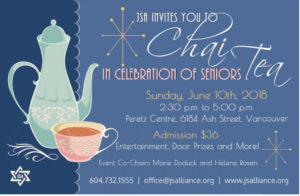 JSA INVITES YOU TO CHAI TEA CELEBRATION OF SENIORS @ Peretz Centre | Vancouver | British Columbia | Canada